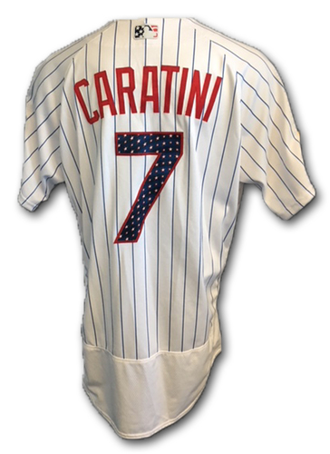 Photo of Victor Caratini Stars and Stripes Team-Issued Jersey -- Tigers vs. Cubs -- 7/4/18