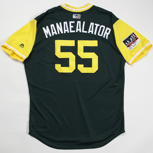 "Photo of Sean ""Manaealator"" Manaea Oakland Athletics Team Issued Jersey 2018 Players' Weekend Jersey"