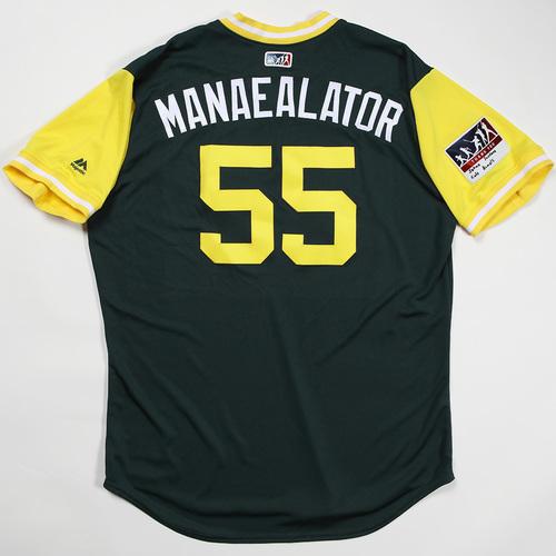 "Photo of Sean ""Manaealator"" Manaea Oakland Athletics Team Issued Jersey 2018 Players' Weekend Jersey"