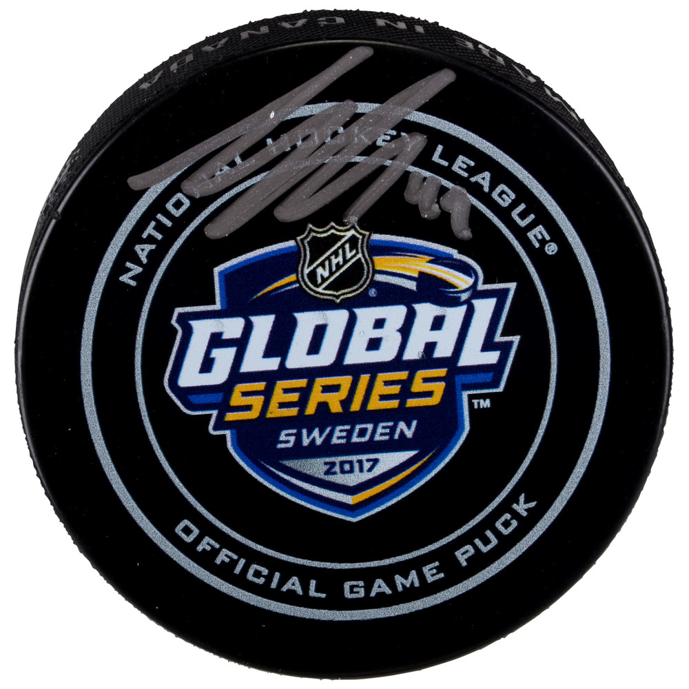 Samuel Girard Colorado Avalanche Autographed 2017 NHL Global Series Official Game Puck