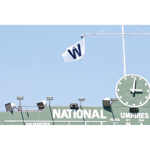 Photo of Wrigley Field Collection -- Team-Issued 'W' Flag -- Flown over Wrigley Field after 6/8/18 Win vs. Padres