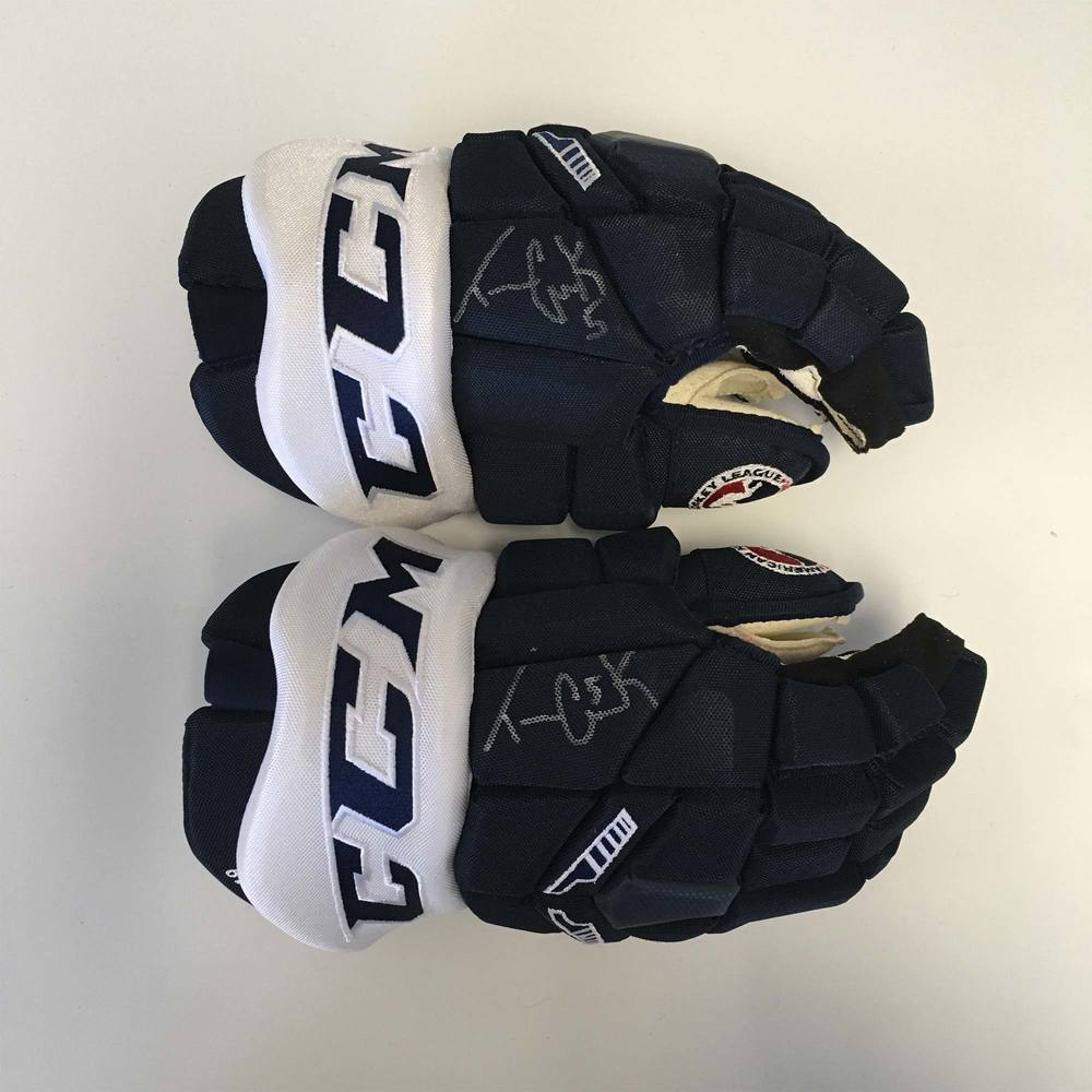 2019 Lexus AHL All-Star Classic Gloves Worn and Signed by #5 Trevor Carrick