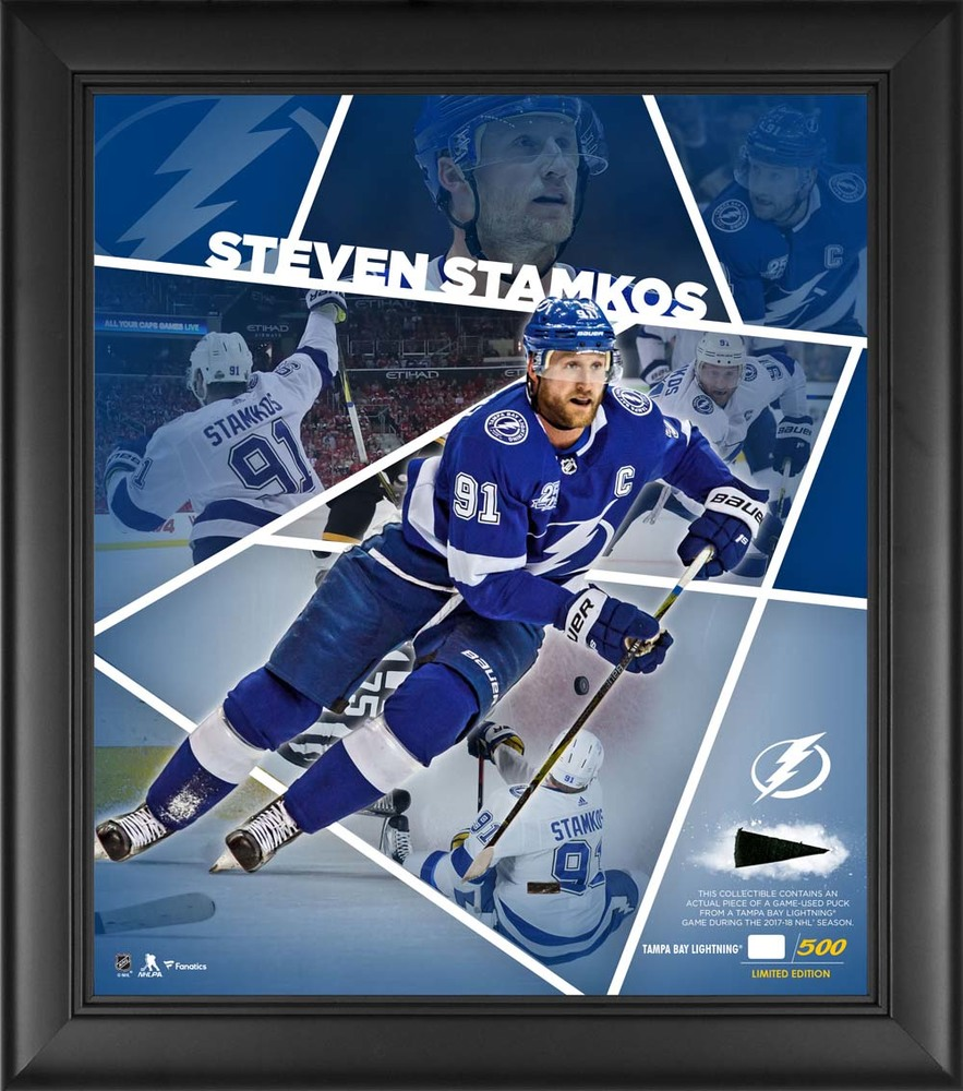 Steven Stamkos Tampa Bay Lightning Framed 15'' x 17'' Impact Player Collage with a Piece of Game-Used Puck - Limited Edition  91 of 500