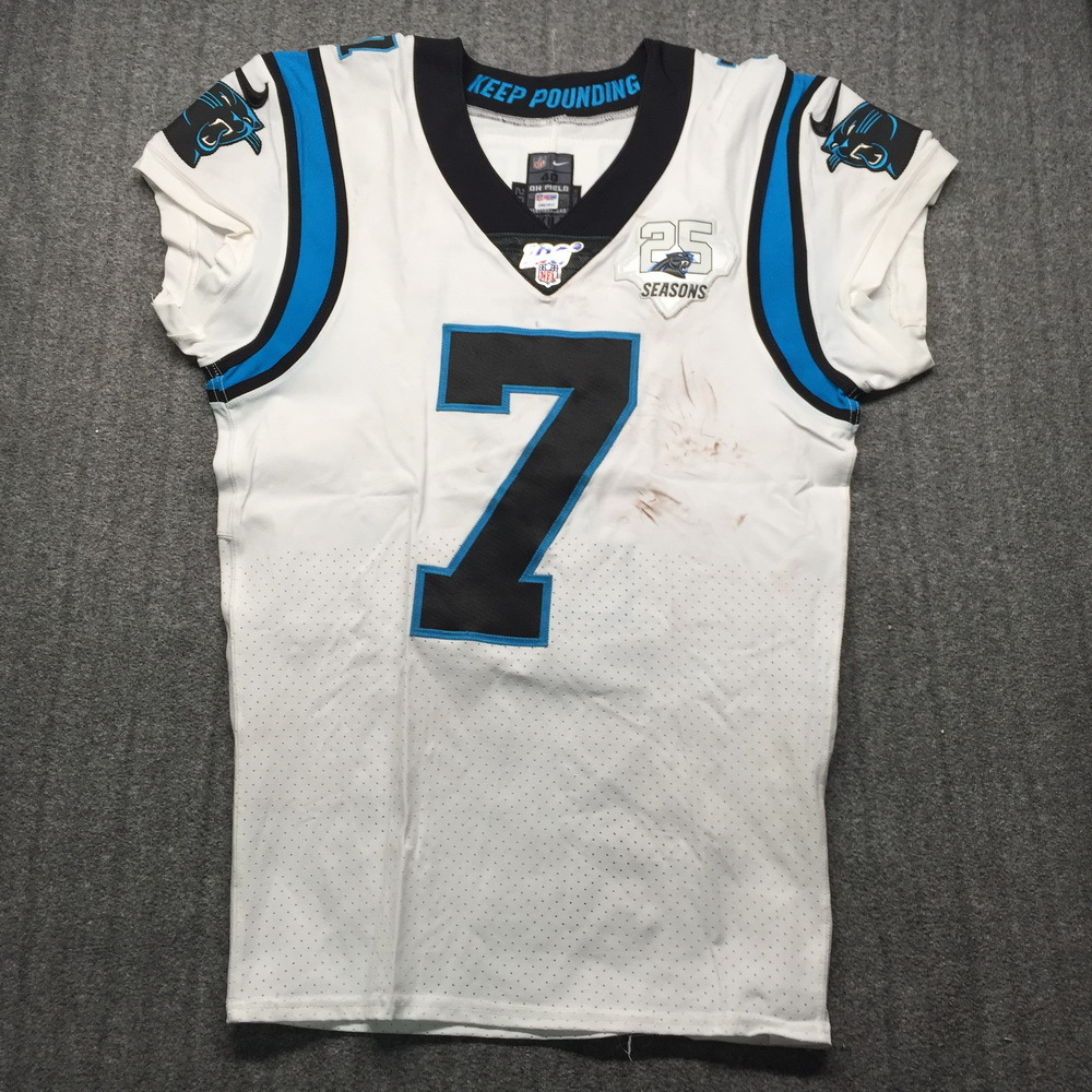 NFL Auction | London Games - Panthers Kyle Allen Game Used Jersey ...