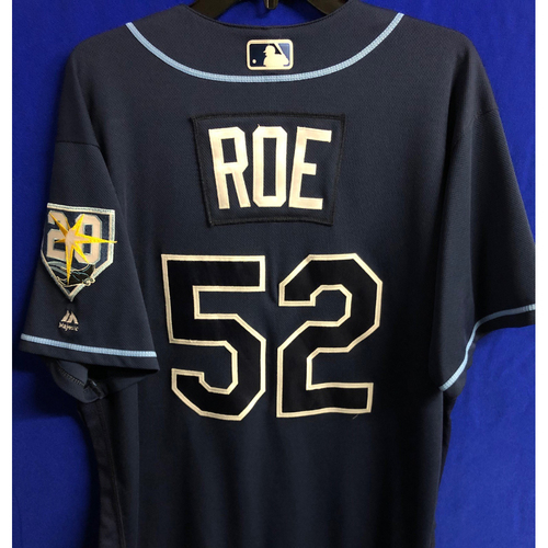 Photo of Game Used 20th Anniversary Navy Jersey: Chaz Roe - September 29, 2018 v TOR