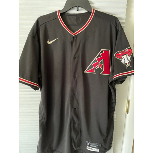 Photo of Keury Mella 2020 Game-Used Black Alternate Jersey, 9/26/20 vs. Rockies: Mella pitched 1 inning of relief, gave up 1 hit, 0 runs and struck out 1