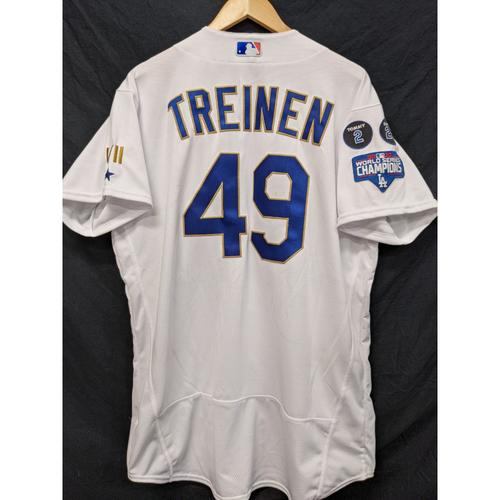 Photo of Blake Treinen Game-Used 3rd Save Gold Trim Re-Opening Day Jersey - 6/15/21