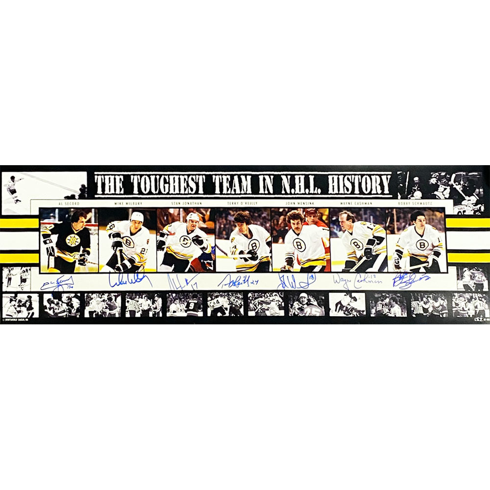 Boston Bruins Multi-Signed 10X30 Panoramic Photo