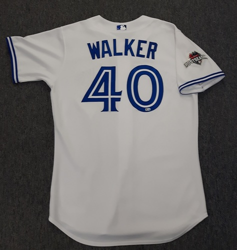 Photo of Authenticated Game Used Postseason Jersey - #40 Pete Walker (October 8, 2015: ALDS Game 1). Size 46.