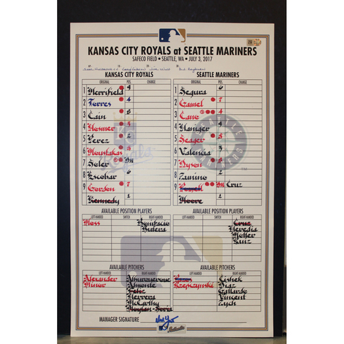 Photo of Game-Used Line-Up Card: Mike Moustakas 23rd Home Run of 2017 (KC at SEA - 7/3/17)