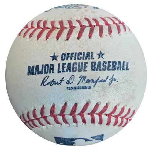 Photo of Game-Used Baseball from Pirates vs. Braves on 5/16/16 - Ender Inciarte Single