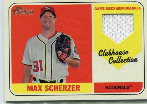 Photo of 2018 Topps Heritage Clubhouse Collection Relics #CCRMSC Max Scherzer -- 2018 All-Star