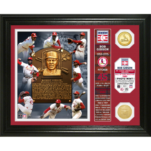 Photo of Serial #1! Bob Gibson Class of 1981 Banner Bronze Coin Photo Mint