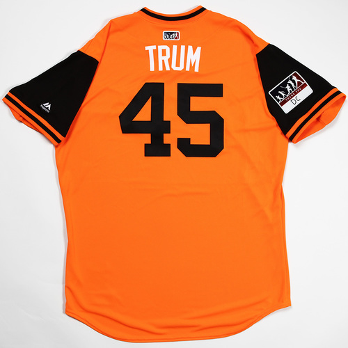 "Photo of Mark ""Trum"" Trumbo Baltimore Orioles Team-Issued 2018 Players' Weekend Jersey"