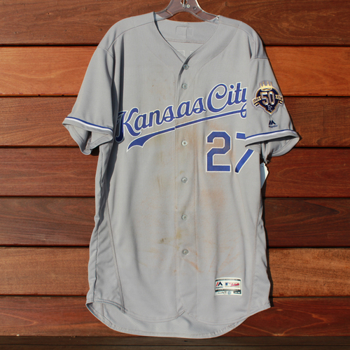 Photo of Game-Used Jersey: Adalberto Mondesi 102nd Career Hit and 14th Career Home Run (Size 44 - KC @ DET - 9/20/18)