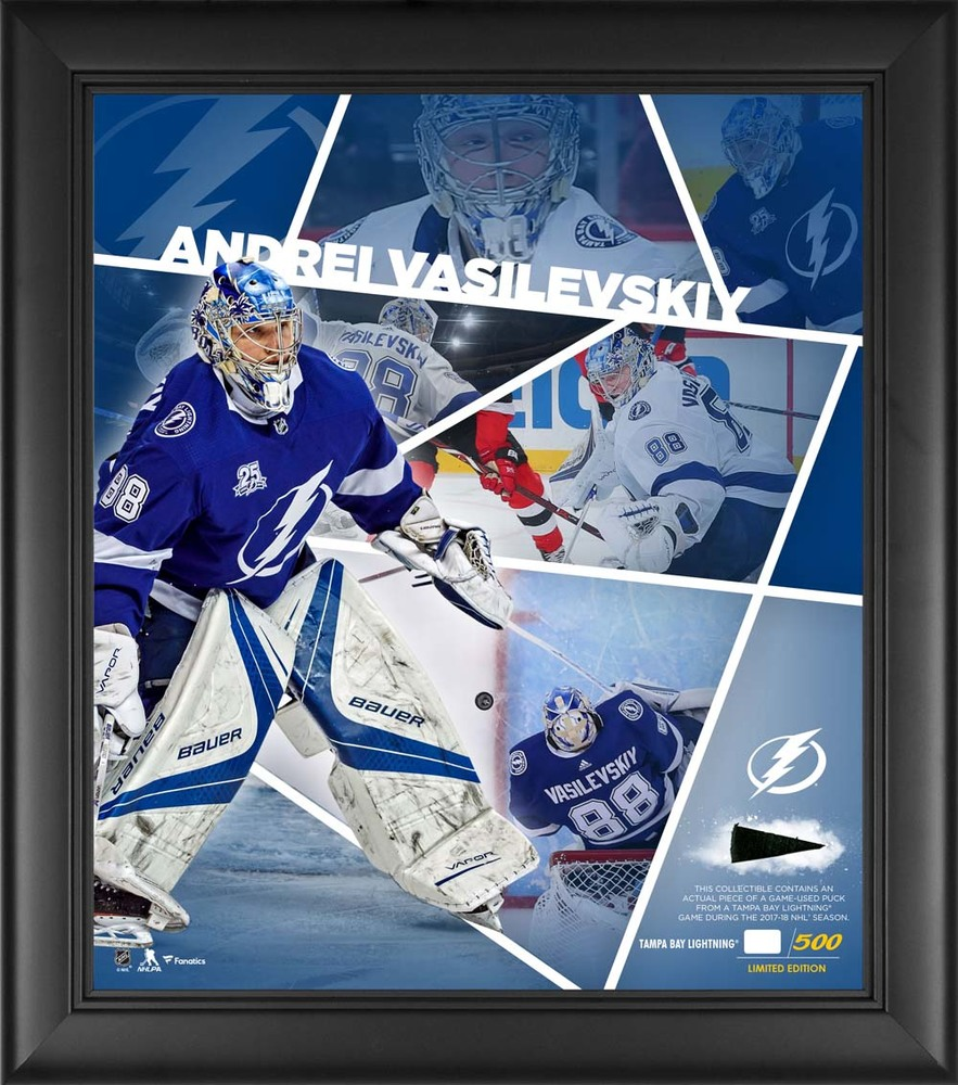 Andrei Vasilevskiy Tampa Bay Lightning Framed 15'' x 17'' Impact Player Collage with a Piece of Game-Used Puck - Limited Edition 88 of 500