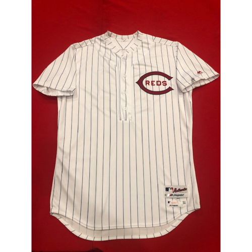 Photo of Nick Senzel -- Game-Used Jersey -- 1919 Throwback Game -- Nationals vs. Reds on June 2, 2019 -- Jersey Size 46