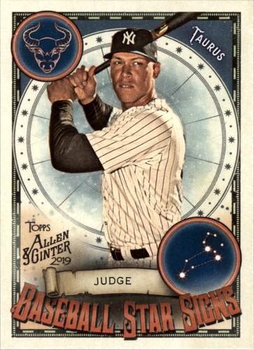 Photo of 2019 Topps Allen and Ginter Baseball Star Signs #BSS20 Aaron Judge