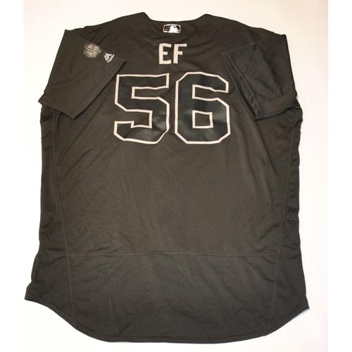 "Photo of Zach ""EF"" Eflin Philadelphia Phillies Game-Used 2019 Players' Weekend Jersey"