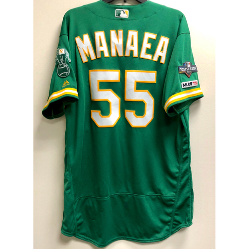Photo of Sean Manaea Game-Used 2019 A.L. Wild Card Jersey w/ Postseason Patch