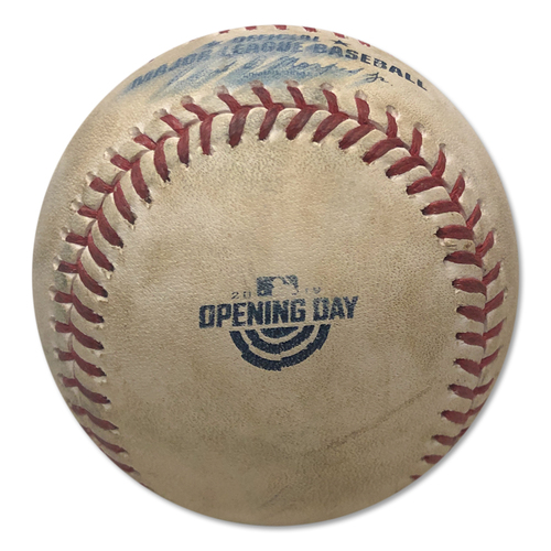 Photo of Game Used Baseball - 2019 Home Opener - Stephen Strasburg to Michael Conforto - Ground Out - Stephen Strasburg to Wilson Ramos - Foul Ball - 7th Inning - Mets vs. Nationals - 4/4/19