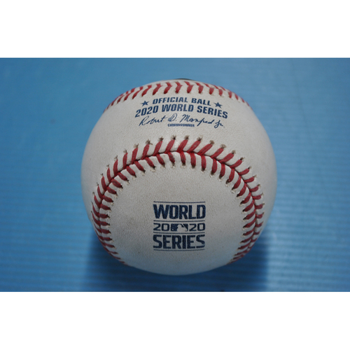 Photo of Game-Used Baseball - 2020 World Series - Tampa Bay Rays vs. Los Angeles Dodgers - Game 2 - Pitcher: Nick Anderson, Batters: Cody Bellinger (Groundout to SS), Edwin Rios (Foul) - Bot 6