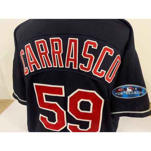 Photo of Carlos Carrasco Game Used Jersey - 7/11/18 vs CIN (1,000th Career Strikeout and 1,000 Career Innings Pitched)