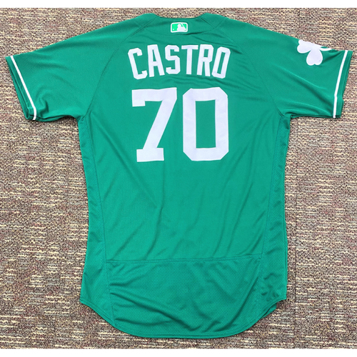 Photo of Harold Castro #70 Detroit Tigers Game-Used St. 2019 St. Patrick's Day Jersey (MLB AUTHENTICATED)