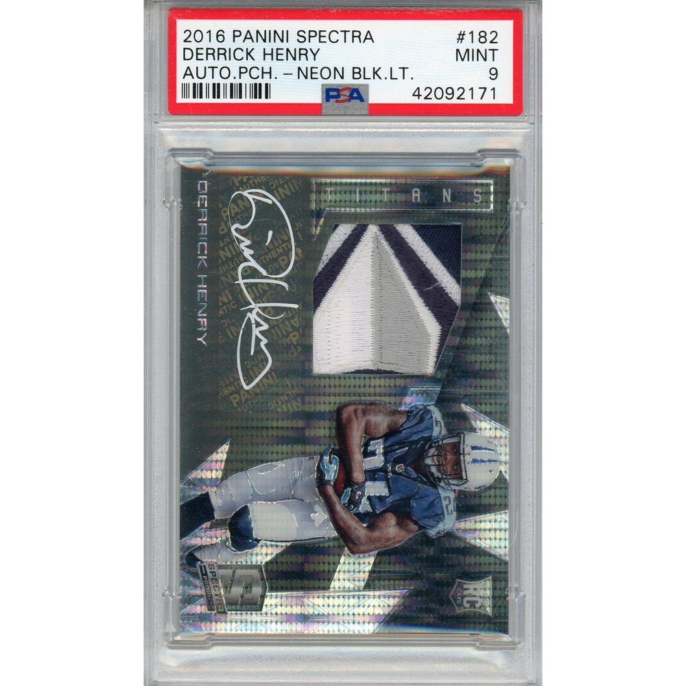 Derrick Henry Tennessee Titans Autographed 2016 Panini Spectra Neon Black Light Parallel Prime Patch Relic Rookie Card #182 #3/5 - PSA 9 POP 1 Card