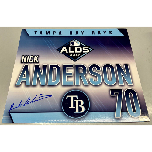 Photo of Game Used Autographed ALDS Locker Tag: Nick Anderson - October 7, 2019 v HOU