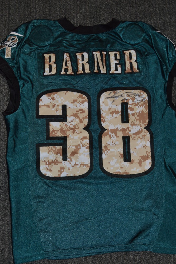 EAGLES - Kenjon Barner SALUTE TO SERVICE SIGNED PRACTICE WORN JERSEY NOVEMBER 2017 WITH CAMO NUMBERS
