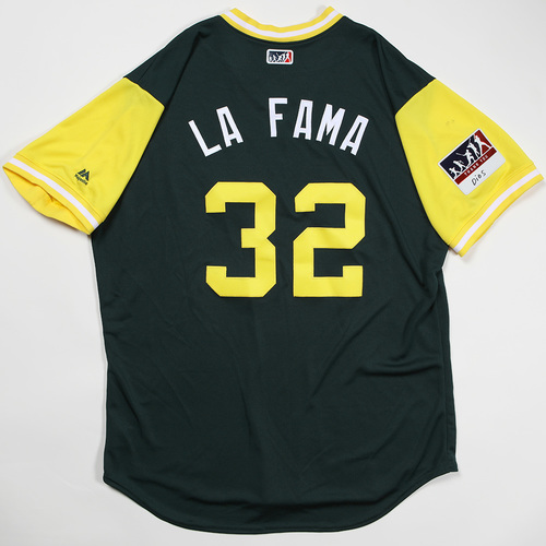 "Photo of Jeurys ""La Fama"" Familia Oakland Athletics Game-Used Jersey 2018 Players' Weekend Jersey"