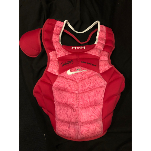 "Photo of Tucker Barnhart -- Autographed Mother's Day Chest Protector -- Inscribed as ""Game Used 2018"""