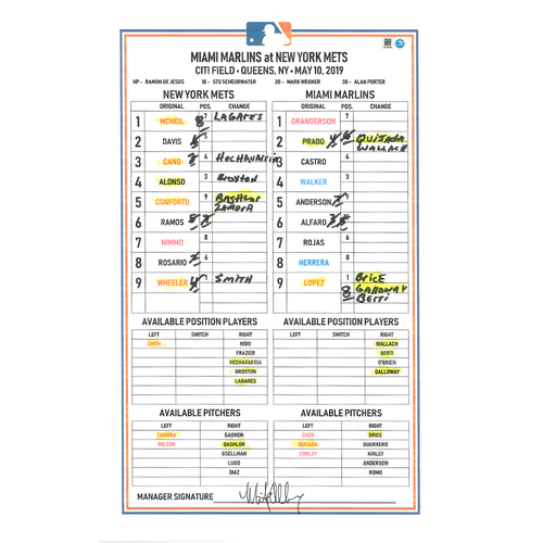 Photo of Game Used Lineup Card - Wheeler Start, 7 IP, 2 ER, 11 K's, Earns 3rd Win; Rosario Grand Slam; McNeil 2-3 HR (2); Conforto 3-3 HR (7); Mets Win 11-2 - Mets vs. Marlins - 5/10/19