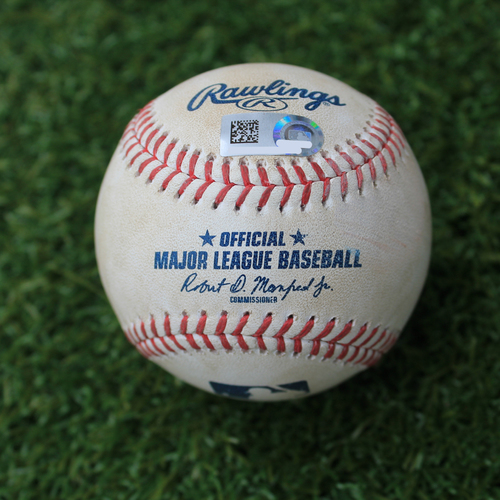 Photo of Game-Used Baseball: Alex Colome Pitched Strikeout to Ryan O'Hearn (CWS @ KC - 3/31/19)