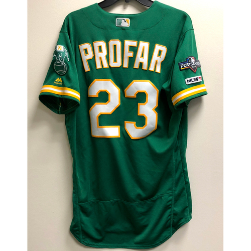 Photo of Jurickson Profar Game-Used 2019 A.L. Wild Card Jersey w/ Postseason Patch