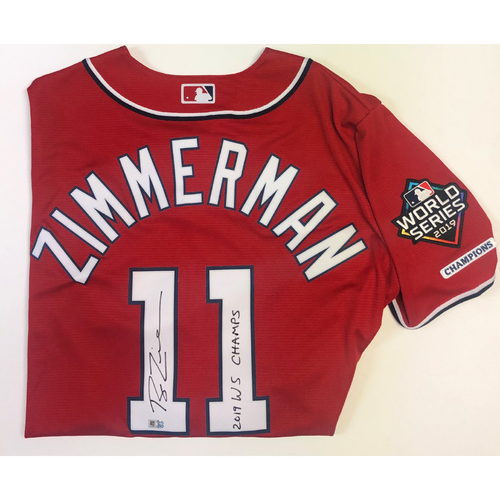 "Photo of Ryan Zimmerman Autographed ""2019 WS Champs"" Nationals Red Replica Jersey - 2019 WS Logo Patch"