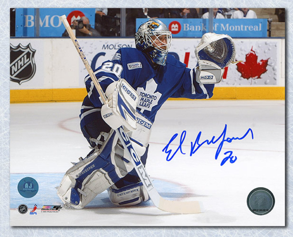 Ed Belfour Toronto Maple Leafs Autographed Glove Save 16x20 Photo