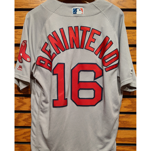Photo of Andrew Benintendi #16 Game Used Road Gray Jersey