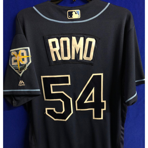 Photo of Game Used 20th Anniversary Navy Jersey: Sergio Romo - September 29, 2018 v TOR