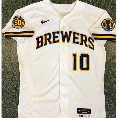 Photo of Omar Narvaez 2020 Team-Issued Home Cream Jersey