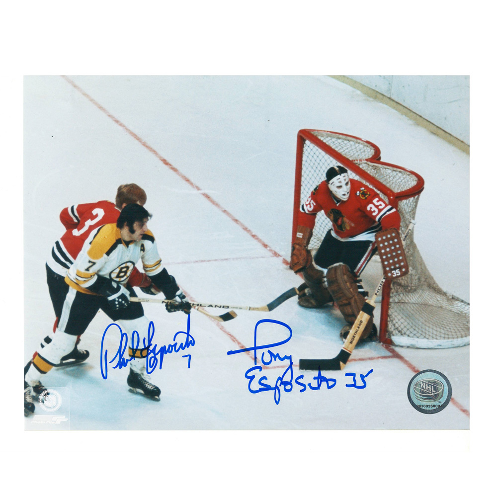 PHIL & TONY ESPOSITO Signed Boston Bruins & Chicago Blackhawks 8 X 10 Photo - 70164