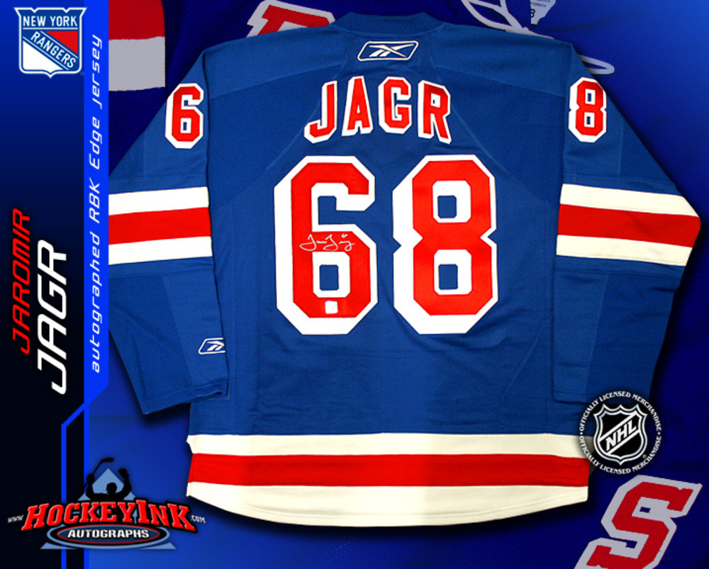 buy popular 50e96 12ea7 JAROMIR JAGR Signed RBK Premier Blue New York Rangers Jersey ...