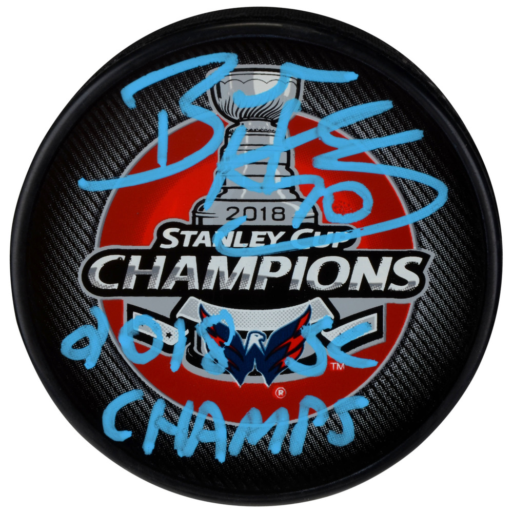 Braden Holtby Washington Capitals 2018 Stanley Cup Champions Autographed Stanley Cup Champions Logo Hockey Puck with 2018 SC Champs Inscription