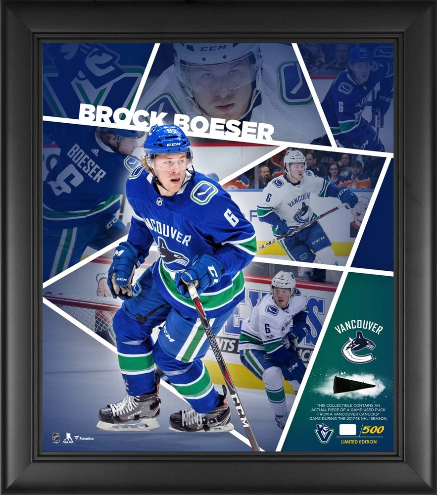 Brock Boeser Vancouver Canucks Framed 15'' x 17'' Impact Player Collage with a Piece of Game-Used Puck - Limited Edition 6 of 500