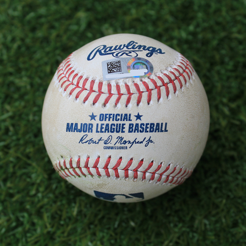 Photo of Game-Used Baseball: Tyler Naquin 160th Career Hit and 70th and 71st Career RBIs (CLE @ KC - 4/14/19)