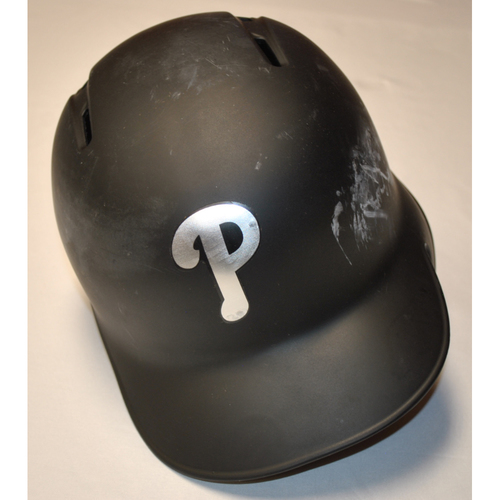 "Photo of Zach ""EF"" Eflin Philadelphia Phillies Game-Used 2019 Players' Weekend Helmet"