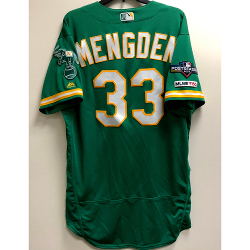 Photo of Daniel Mengden Team Issued 2019 A.L. Wild Card Jersey w/ Postseason Patch