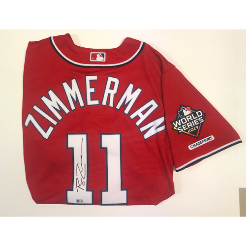 Photo of Ryan Zimmerman Autographed Nationals Red Replica Jersey - 2019 WS Logo Patch
