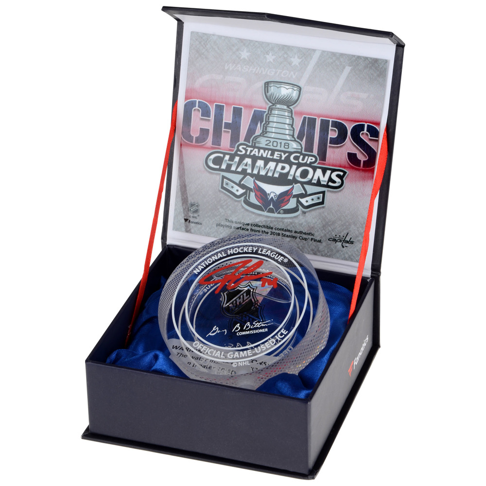 John Carlson Washington Capitals Autographed 2018 Stanley Cup Champions Crystal Puck - Filled With Ice From The 2018 Stanley Cup Final